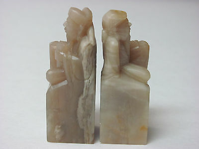 Vintage Pair Chinese Shoushan soapstone Carved Ancient Man seal