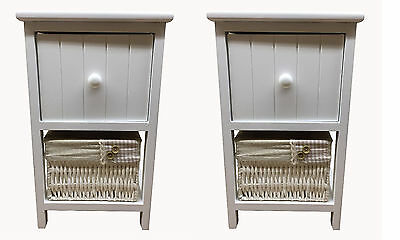 New Pair of Shabby Chic White Bedside Tables Units Drawers with Wicker Storage