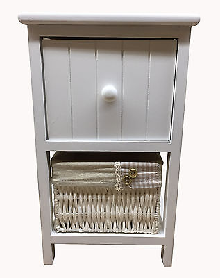 New Shabby Chic White Bedside Table Drawer Unit with Wicker Storage Basket
