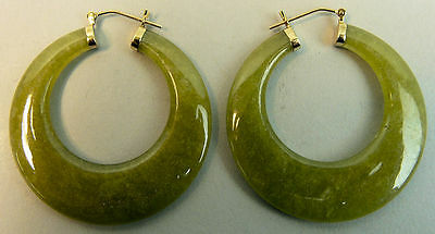 A Fine Pair Of 14K Gold Jade Hoop Earrings