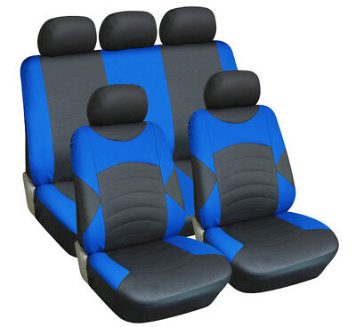 Universal Car Seat Cover Set Luxury Black & Blue Leather Look - High Quality