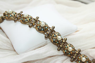 """Rare Etruscan Vintage Gilted Brass Pearl & Turquoise Cabochon Bracelet 7 1/4"""""""