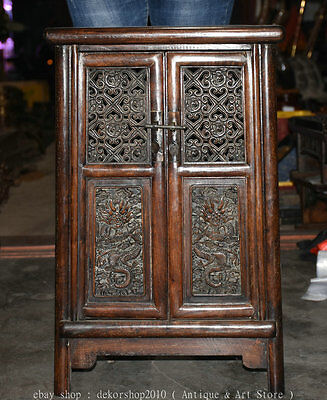 """24"""" Chinese Huanghuali Wood Dragon Classical Furniture Storage Lockers Cabinet R"""