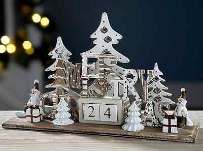 Christmas Advent Calendar Wooden Xmas Scene Countdown Home Table Decoration NEW