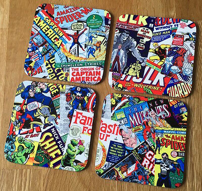 Marvel Vintage Comic Covers Montage Wooden Coasters For Mugs/Cups Set of Four