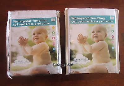 Terry Towelling Waterproof Fully Fitted Sheet Cot Bed Cot Mattress Protector