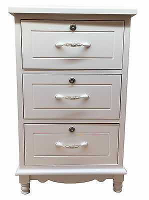 White Bedside Wooden 3 Drawer Chest Bedside Cabinet Nightstand Storage Unit