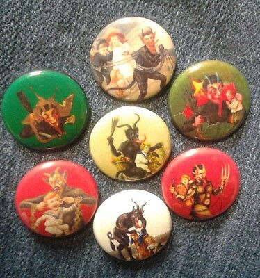 """1"""" pinback buttons inspired  by """"Krampus"""" christmas horror"""