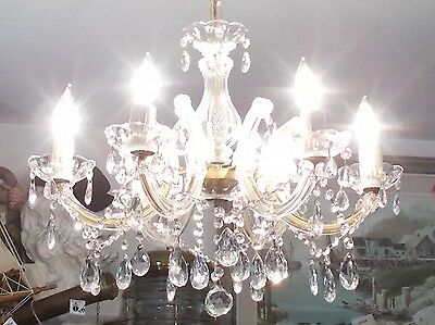 Antique Maria Theresa Crystal Prism 6 Arm Chandelier from Seattle Salvage
