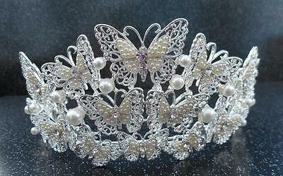 Silver Butterfly And Pearl Wedding Bridal Tiara Code:t03