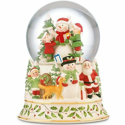 Lenox  Holiday Musical Snowglobe Centerpiece Snowman New in Box Holiday Pattern