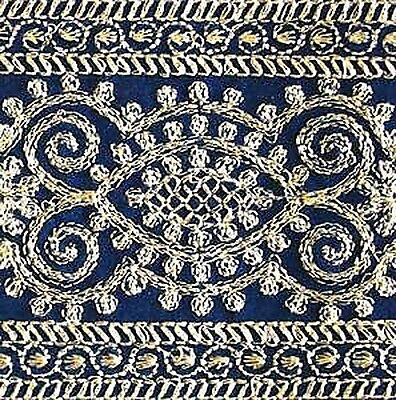 3 Yards, Wide, Iron-On Trim. Gold Embroidered on Blue