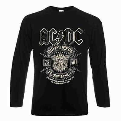 New AC/DC Dirty Deeds Done Cheap Long sleeve T-Shirt Back In Black Album Rock