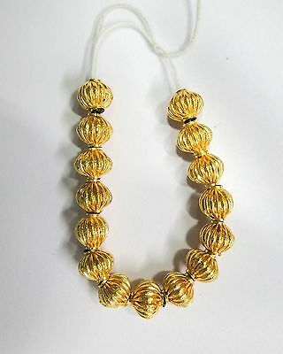 Vintage handmade 22K Gold jewelry beads set of 15 pieces rajasthan india