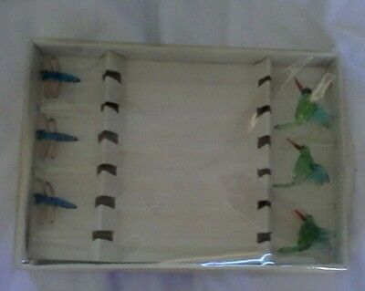 Vintage glass humming bird and dragonfly stirers