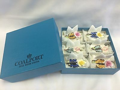 6 Coalport Bone China Flower & Butterfly Place Card Holders New in Box