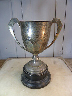 Antique silver plated football trophy Charity Football Cup dated 1938