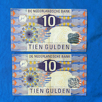Pair of 1997 Netherlands 10 Gulden Banknotes *P-99*                *F*