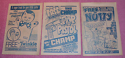 3 Comic Flyers - Champ Nutty And Twinkle