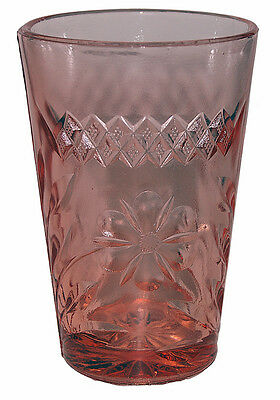 U.S. Glass Floral and Diamond Banded Pink Ice Tea Tumbler