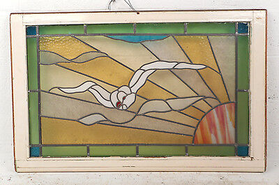 Vintage European Seagull Stained Glass Window Panel (2958)NJ