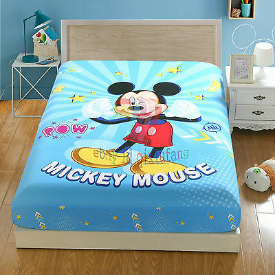 Disney Mickey Mouse 100% Cotton Kids Bed Fitted Sheet Twin Full Queen Size QXF22