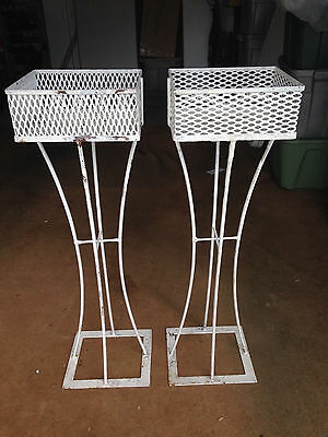 Set Pair 2 Mid-Century Cast Iron Pedestal Planter Stands White Shabby Chic  40""