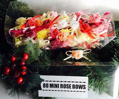 80 Mini Gift Decoration Rose Bows. Boxes, Bags, Cards, Crafts, Sticky Back.