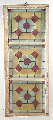 Tall Vintage Stained Glass Window Panel (2972)NJ