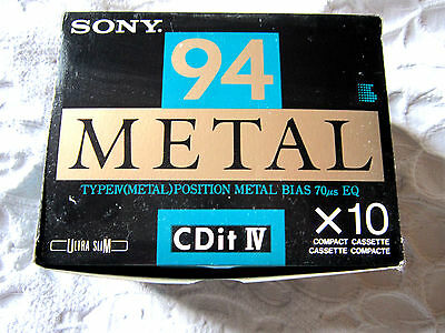 1 x box - SONY CDit IV 94 [1992] metal position 10 pcs.- CASSETTES made in Japan