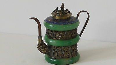 Theiere Chinoise Cloisonne Singe Et Crapaud Signature A Identifier (G145)