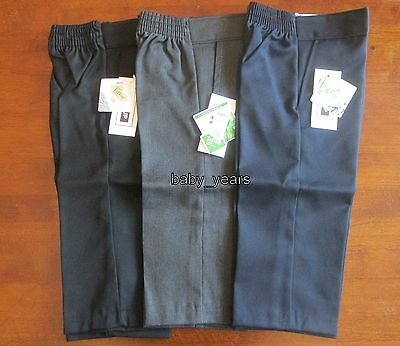 Boys Teflon Trousers Black Grey Navy Formal Wedding Christening Toddler 1-2Yrs