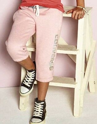NEW CONVERSE ALL STAR GIRLS PINK FLEECE CROPPED JOGGING BOTTOMS 12-13 years  L