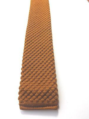 Vintage 1950/60s KNITTED SKINNY NECK TIE Dark Gold MOD SCOOTER FREE P&P