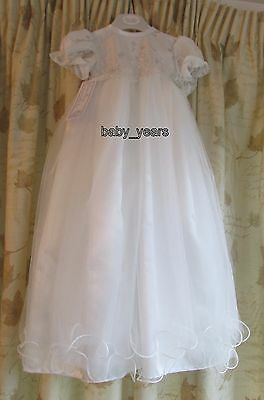 Girls Christening Baptism Dress Gown With Bonnet Ivory Occasion Baby 6-12 Months