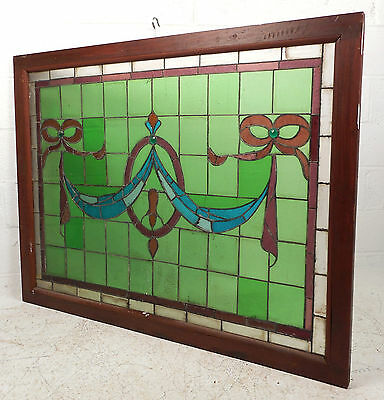 Large Vintage Stained Glass Window Panel (3020)NJ