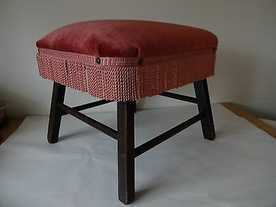 Vintage Foot Stool/Seat -wooden frame and legs, Pink Fabric Cover