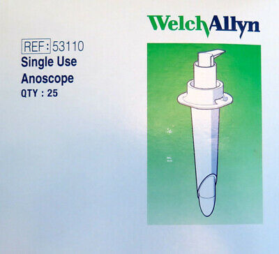 Welch Allyn Disposable Anoscope Polypropylene 19mm Fiber Optic Light Carri 53110