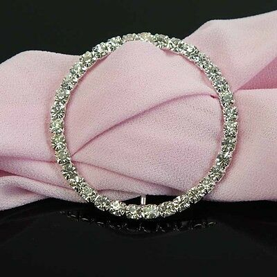 10-100Pcs  Round 48mm Silver Diamante Rhinestone Buckle Slider Chair Sash Ribbon