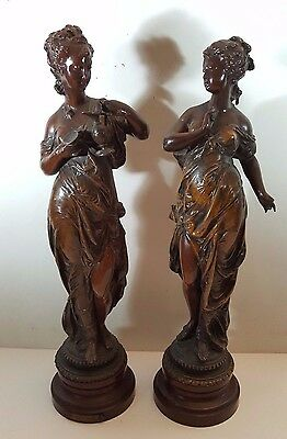Beautiful Pair Of Classical Maiden Spelter Figures 15""