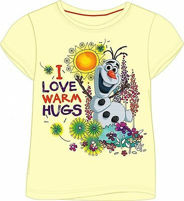 DISNEY® Frozen Girls Pale Yellow T-Shirt with Olaf Print - I Love Warm Hugs