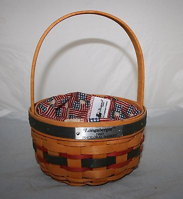 Longaberger 1997 Inaugural Basket w/ Stars & Stripes Cloth Liner & Protector