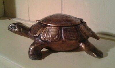 Antique Austrian cold painted bronzed spelter tortoise ashtray