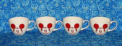4 Disney Store Large Coffee Cups Cappuccino Mugs Red Mickey Mouse Never Used