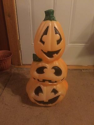 Rare Vintage Stack Of Pumpkins 22 Inches Blow Mold Holiday Halloween Yard Decor