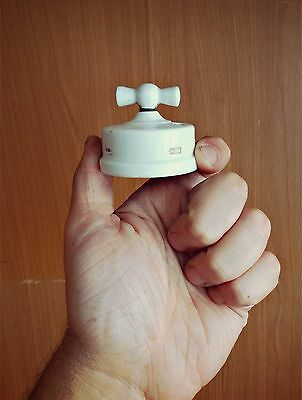*.*.* Antique Museum Turn Switch Light in White Porcelain *.*.*