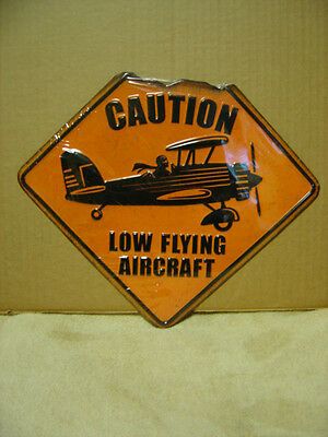 Caution Low Flying Aircraft Embossed Metal  Sign  Shop Garage Man Cave Hanger