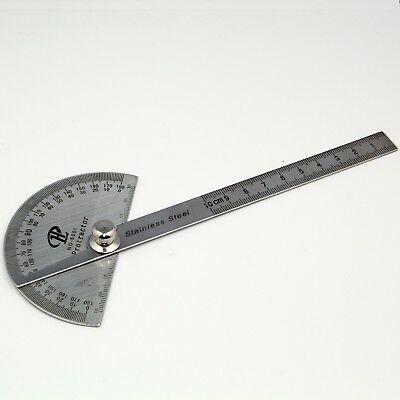 180 Degree Stainless Protractor Round Angle Ruler Tool for Carpenter Machinist