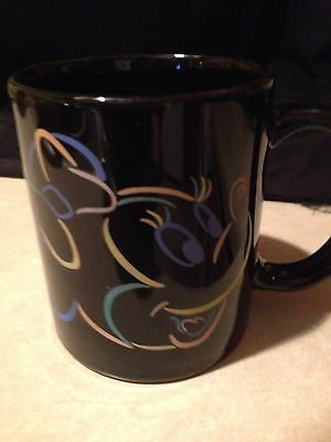 """Walt Disney Minnie Mouse Black With Pastel Colors Coffee Mug Cup 3.5"""" Tall New"""