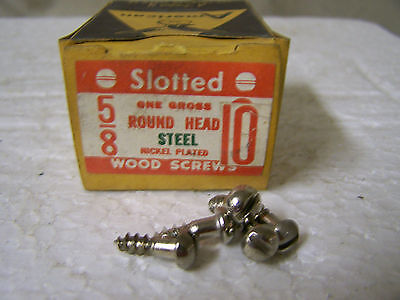 "#10 x 5/8"" Round Head Nickel Plated Wood Screws Slotted Made in USA  Qty. 135"